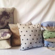 I Hand Paint my linen pillows using mineral pigments and Hand Sew all my Pillows and bags. ...
