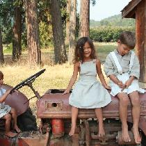 Summer linen outfits for three of my four little ones using mixed natural and bleached linen. ...