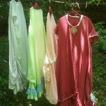 Four new dresses for my wardrobe in different weights and colors of linen with lace and ribbon t...